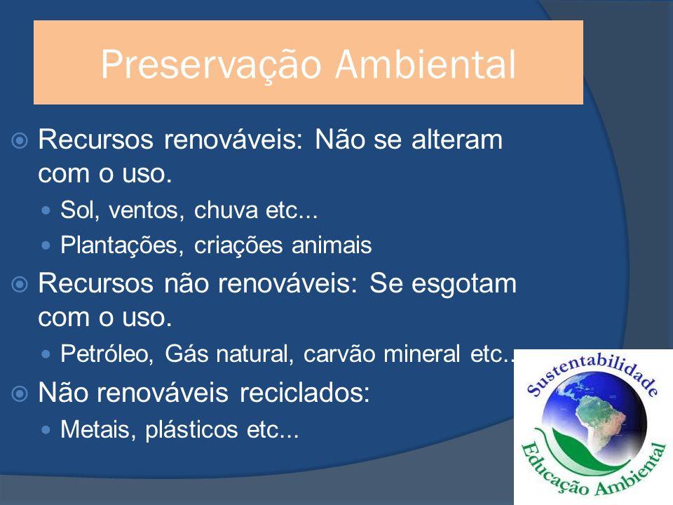 Preservação Ambiental Recursos renováveis: Não se alteram com o uso.