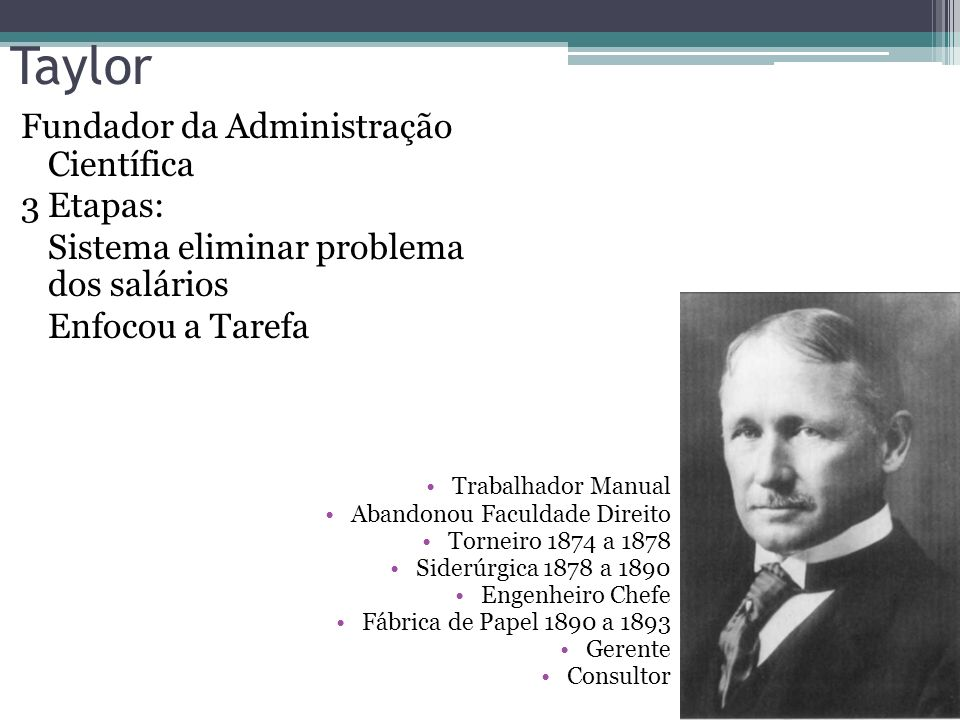 precursores Henry Ford O mais conhecido dos precursores da Administração Moderna, Henry Ford (1863-1947) iniciou sua vida como mecânico e chegou a eng