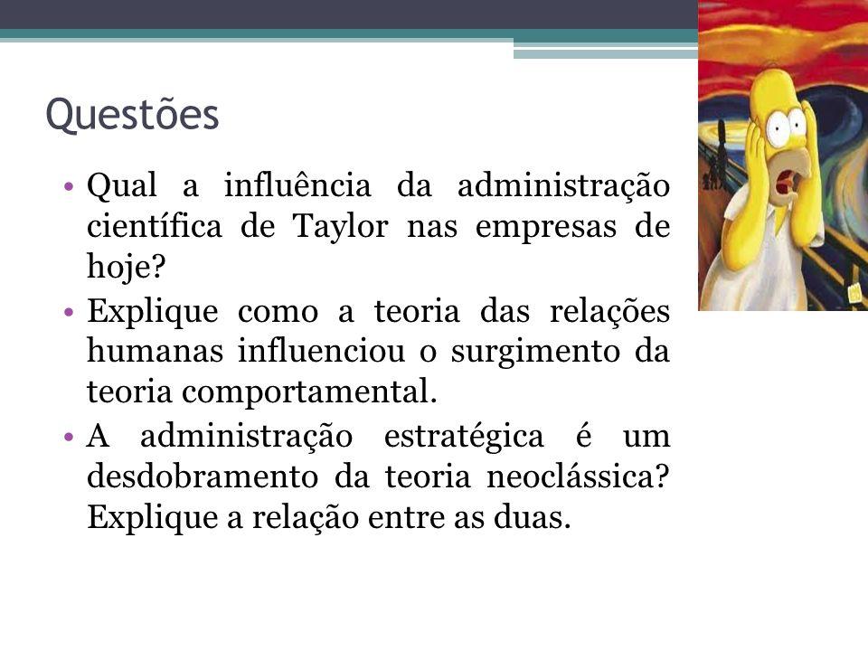 Síntese Taylor conferiu ordem ao chão de fábrica, Fayol contribuiu para as funções administrativas, Weber com a burocracia, os humanistas destacaram a
