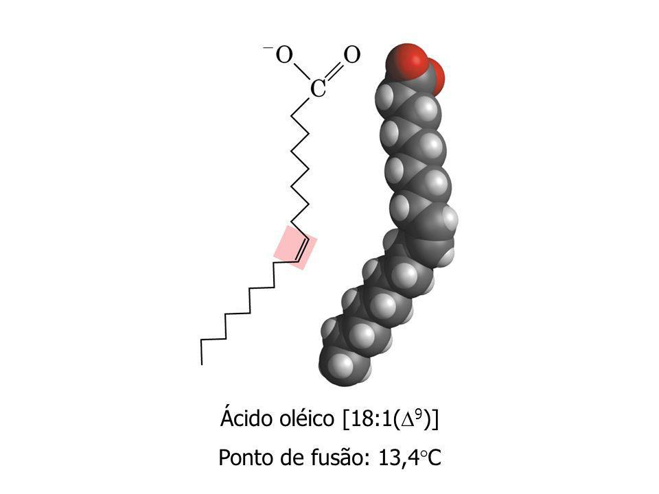 Ácido oléico [18:1( 9 )] Ponto de fusão: 13,4 C
