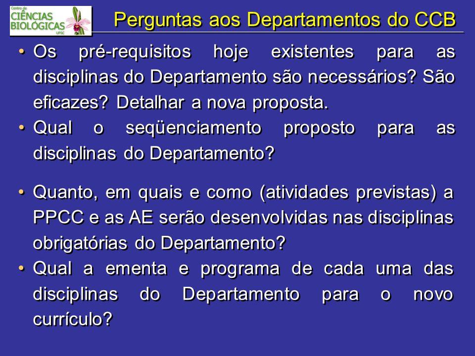 Perguntas aos Departamentos do CCB Os pré-requisitos hoje existentes para as disciplinas do Departamento são necessários.