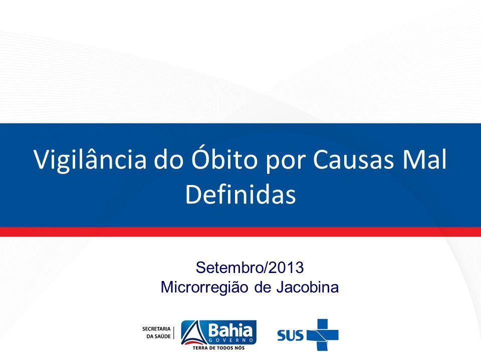 Setembro/2013 Microrregião de Jacobina Vigilância do Óbito por Causas Mal Definidas