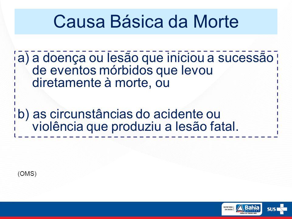 Causa Básica da Morte a)a doença ou lesão que iniciou a sucessão de eventos mórbidos que levou diretamente à morte, ou b) as circunstâncias do acident