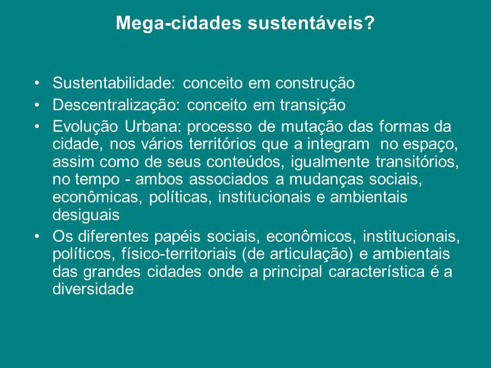Mega-cidades sustentáveis? Sustentabilidade: conceito em construção Descentralização: conceito em transição Evolução Urbana: processo de mutação das f