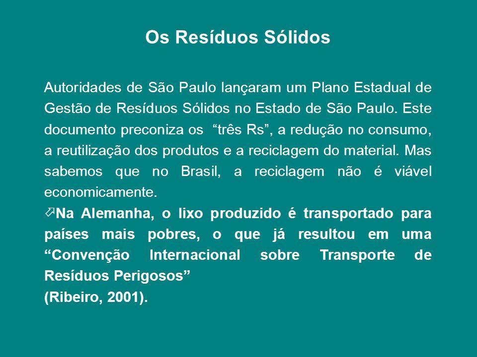 Os Resíduos Sólidos Autoridades de São Paulo lançaram um Plano Estadual de Gestão de Resíduos Sólidos no Estado de São Paulo. Este documento preconiza