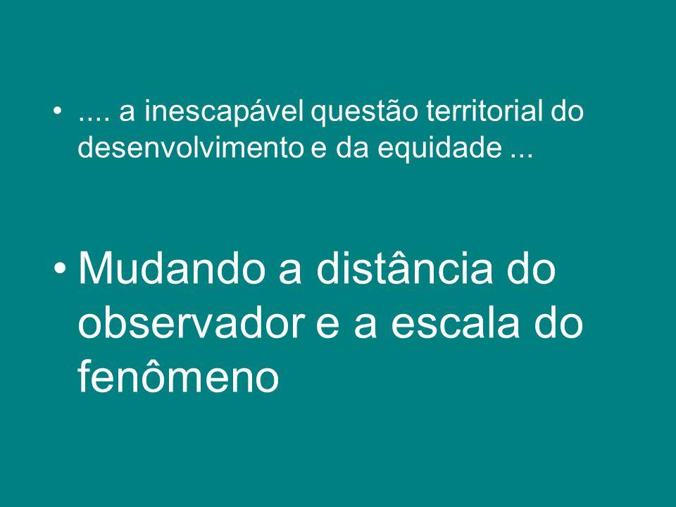 .... a inescapável questão territorial do desenvolvimento e da equidade... Mudando a distância do observador e a escala do fenômeno