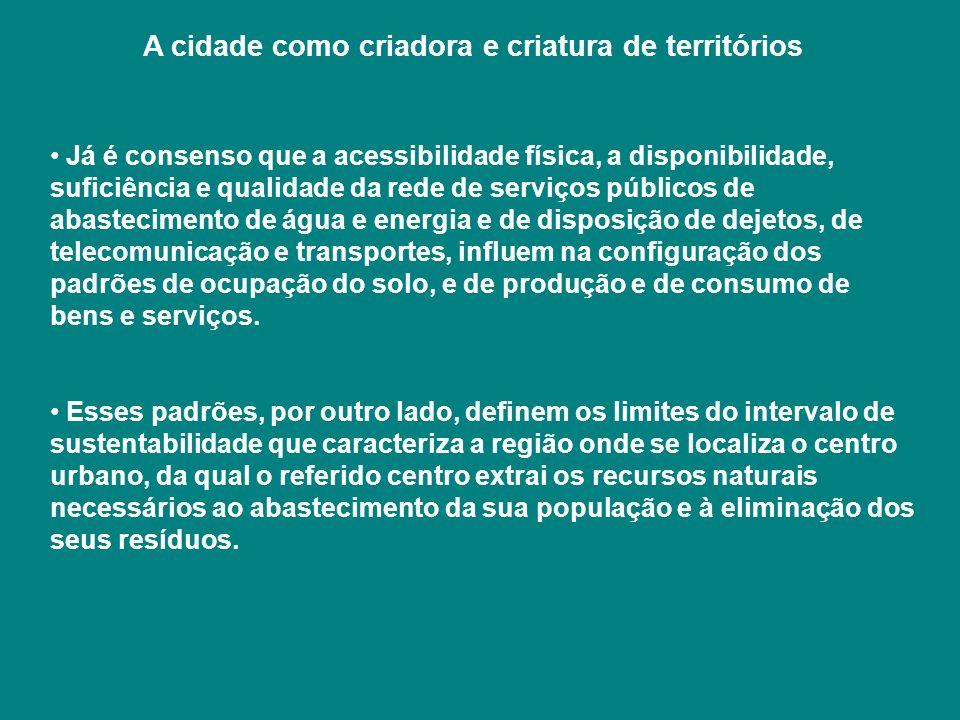 A cidade como criadora e criatura de territórios Já é consenso que a acessibilidade física, a disponibilidade, suficiência e qualidade da rede de serv