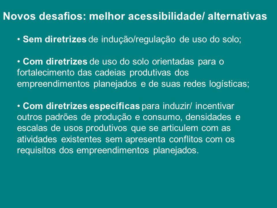 Novos desafios: melhor acessibilidade/ alternativas Sem diretrizes de indução/regulação de uso do solo; Com diretrizes de uso do solo orientadas para