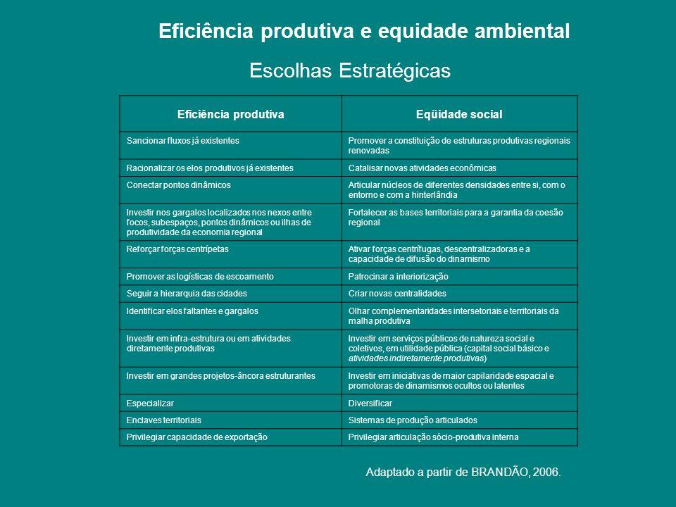 Eficiência produtiva e equidade ambiental Eficiência produtivaEqüidade social Sancionar fluxos já existentesPromover a constituição de estruturas prod