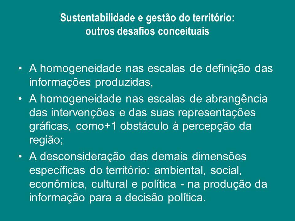 Sustentabilidade e gestão do território: outros desafios conceituais A homogeneidade nas escalas de definição das informações produzidas, A homogeneid
