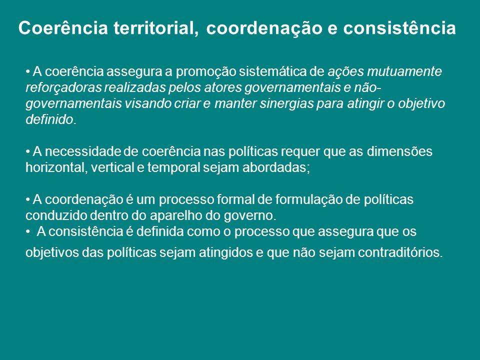 A coerência assegura a promoção sistemática de ações mutuamente reforçadoras realizadas pelos atores governamentais e não- governamentais visando cria