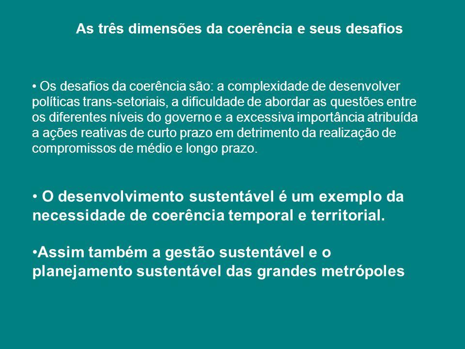 As três dimensões da coerência e seus desafios Os desafios da coerência são: a complexidade de desenvolver políticas trans-setoriais, a dificuldade de