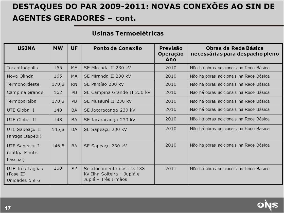 17 DESTAQUES DO PAR 2009-2011: NOVAS CONEXÕES AO SIN DE AGENTES GERADORES – cont. USINAMWUFPonto de ConexãoPrevisão Operação Ano Obras da Rede Básica