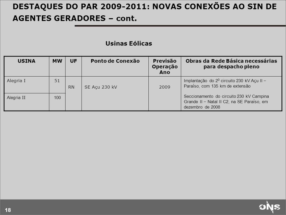 18 DESTAQUES DO PAR 2009-2011: NOVAS CONEXÕES AO SIN DE AGENTES GERADORES – cont. USINAMWUFPonto de ConexãoPrevisão Operação Ano Obras da Rede Básica
