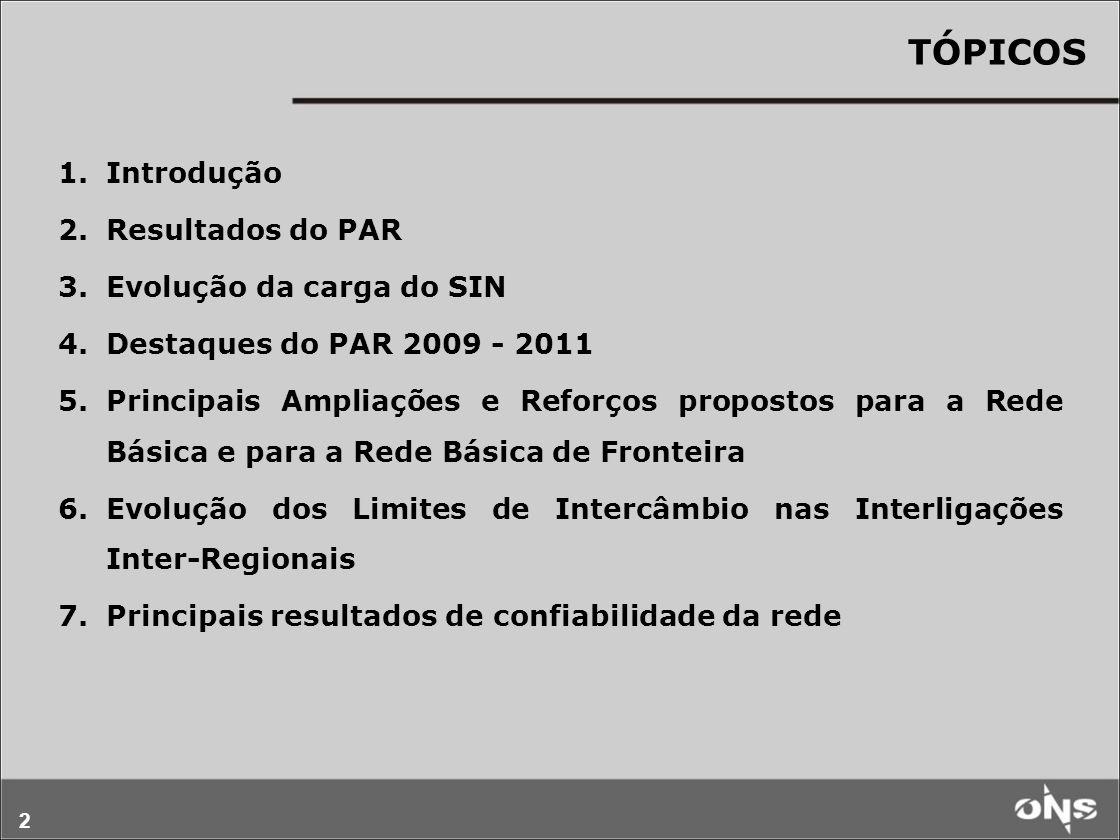 2 TÓPICOS 1.Introdução 2.Resultados do PAR 3.Evolução da carga do SIN 4.Destaques do PAR 2009 - 2011 5.Principais Ampliações e Reforços propostos para