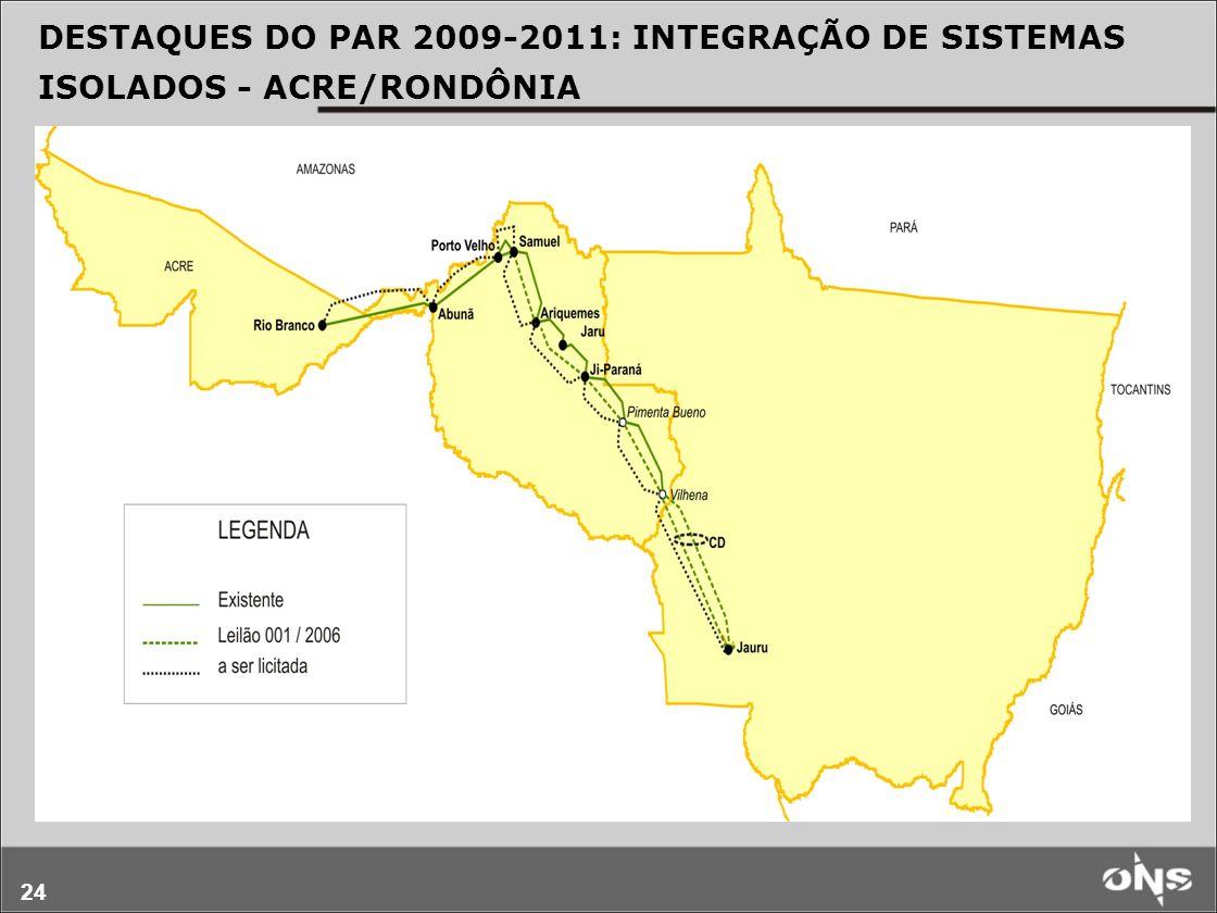 24 DESTAQUES DO PAR 2009-2011: INTEGRAÇÃO DE SISTEMAS ISOLADOS - ACRE/RONDÔNIA