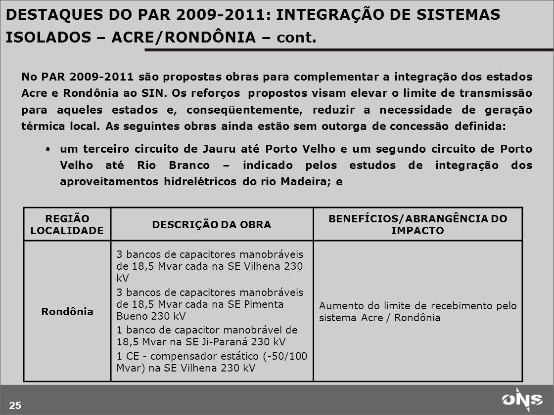 25 No PAR 2009-2011 são propostas obras para complementar a integração dos estados Acre e Rondônia ao SIN. Os reforços propostos visam elevar o limite
