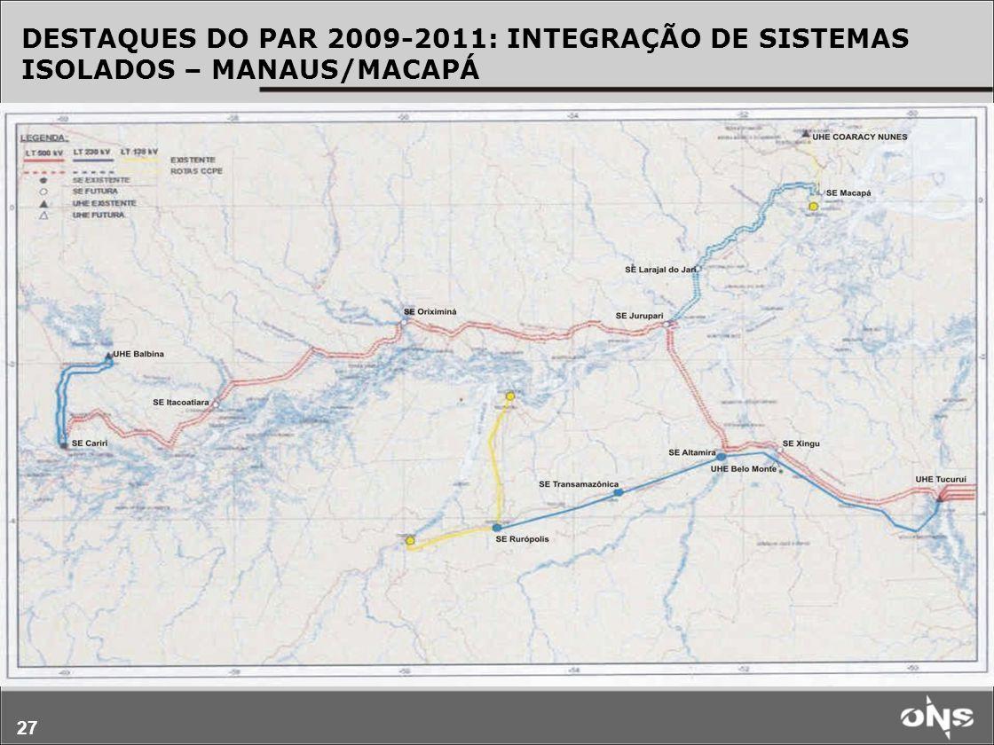 27 DESTAQUES DO PAR 2009-2011: INTEGRAÇÃO DE SISTEMAS ISOLADOS – MANAUS/MACAPÁ