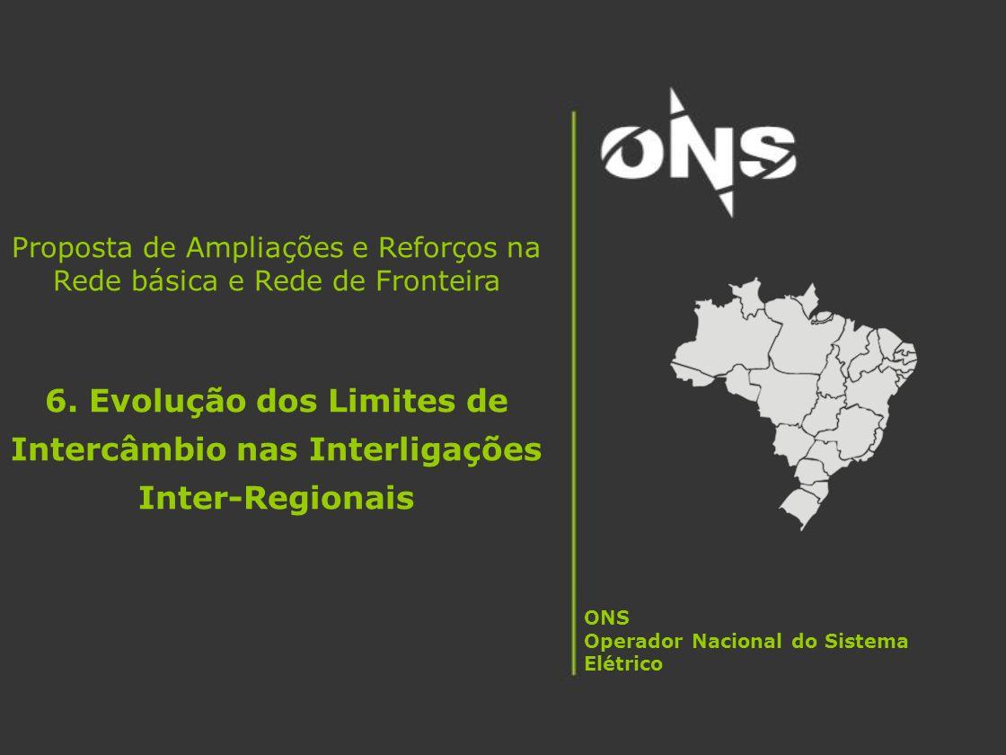 Proposta de Ampliações e Reforços na Rede básica e Rede de Fronteira 6. Evolução dos Limites de Intercâmbio nas Interligações Inter-Regionais ONS Oper