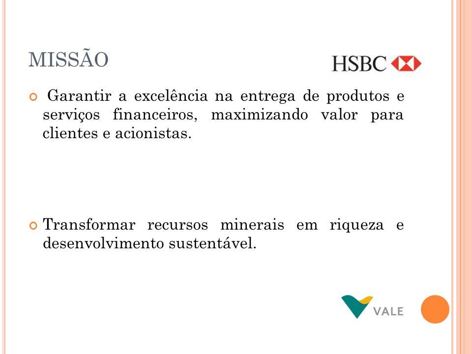 MISSÃO Garantir a excelência na entrega de produtos e serviços financeiros, maximizando valor para clientes e acionistas. Transformar recursos minerai