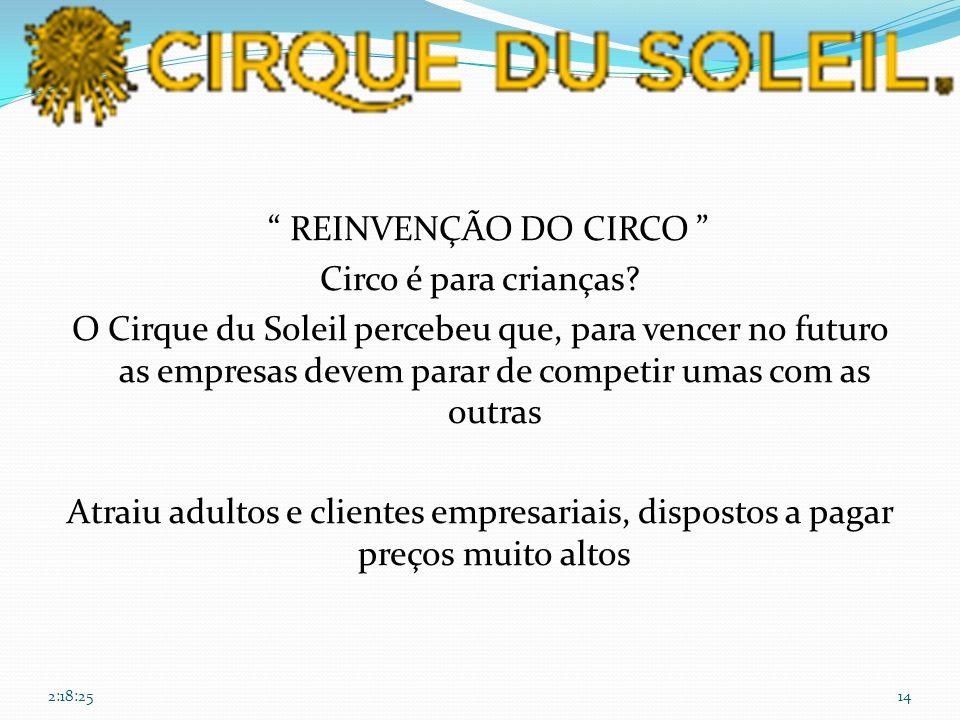 REINVENÇÃO DO CIRCO Circo é para crianças? O Cirque du Soleil percebeu que, para vencer no futuro as empresas devem parar de competir umas com as outr