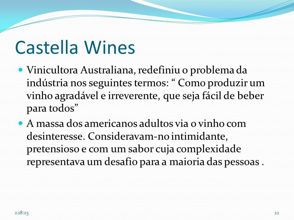 Castella Wines Vinicultora Australiana, redefiniu o problema da indústria nos seguintes termos: Como produzir um vinho agradável e irreverente, que se