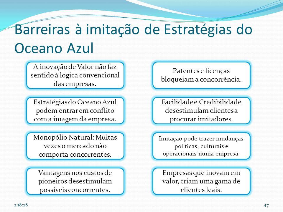 Barreiras à imitação de Estratégias do Oceano Azul 47 A inovação de Valor não faz sentido à lógica convencional das empresas. Estratégias do Oceano Az