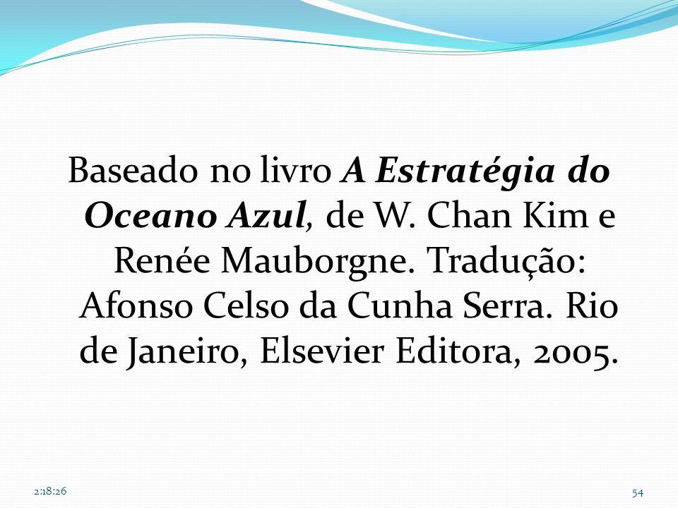 Baseado no livro A Estratégia do Oceano Azul, de W. Chan Kim e Renée Mauborgne. Tradução: Afonso Celso da Cunha Serra. Rio de Janeiro, Elsevier Editor