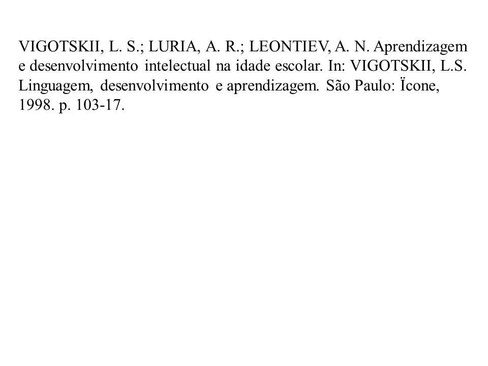 VIGOTSKII, L. S.; LURIA, A. R.; LEONTIEV, A. N. Aprendizagem e desenvolvimento intelectual na idade escolar. In: VIGOTSKII, L.S. Linguagem, desenvolvi