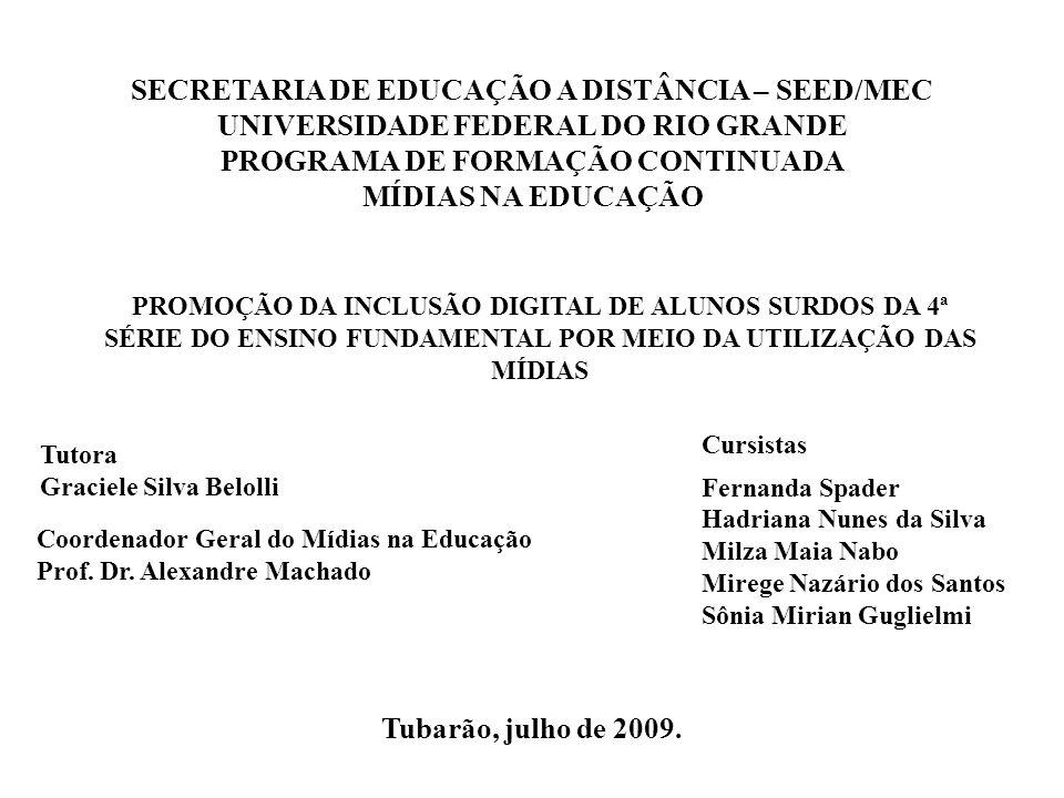 SECRETARIA DE EDUCAÇÃO A DISTÂNCIA – SEED/MEC UNIVERSIDADE FEDERAL DO RIO GRANDE PROGRAMA DE FORMAÇÃO CONTINUADA MÍDIAS NA EDUCAÇÃO Tubarão, julho de