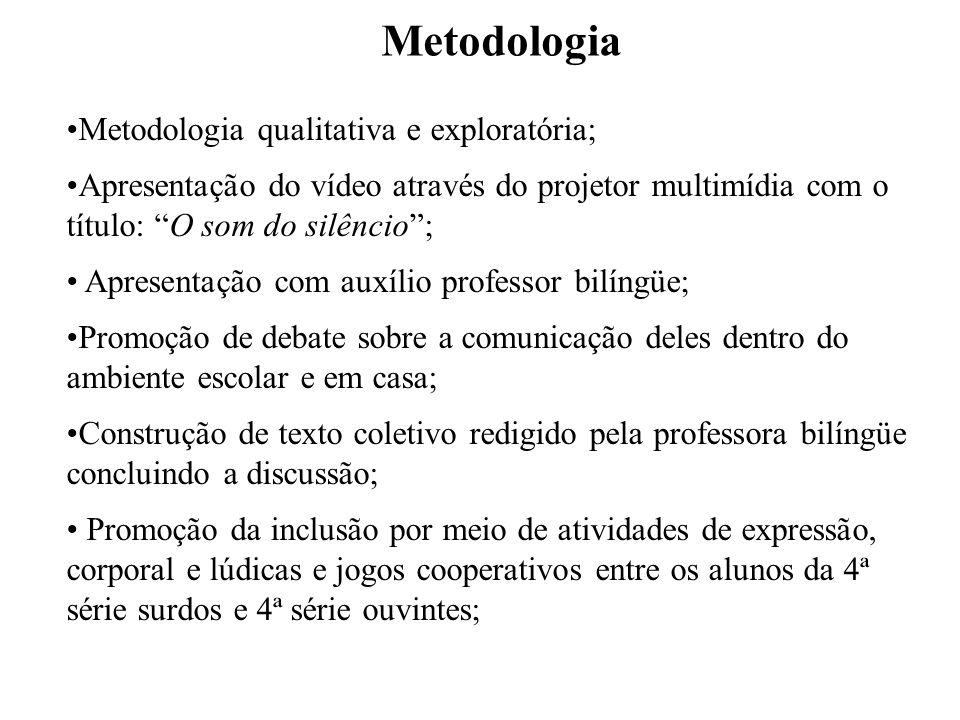 Metodologia Metodologia qualitativa e exploratória; Apresentação do vídeo através do projetor multimídia com o título: O som do silêncio; Apresentação
