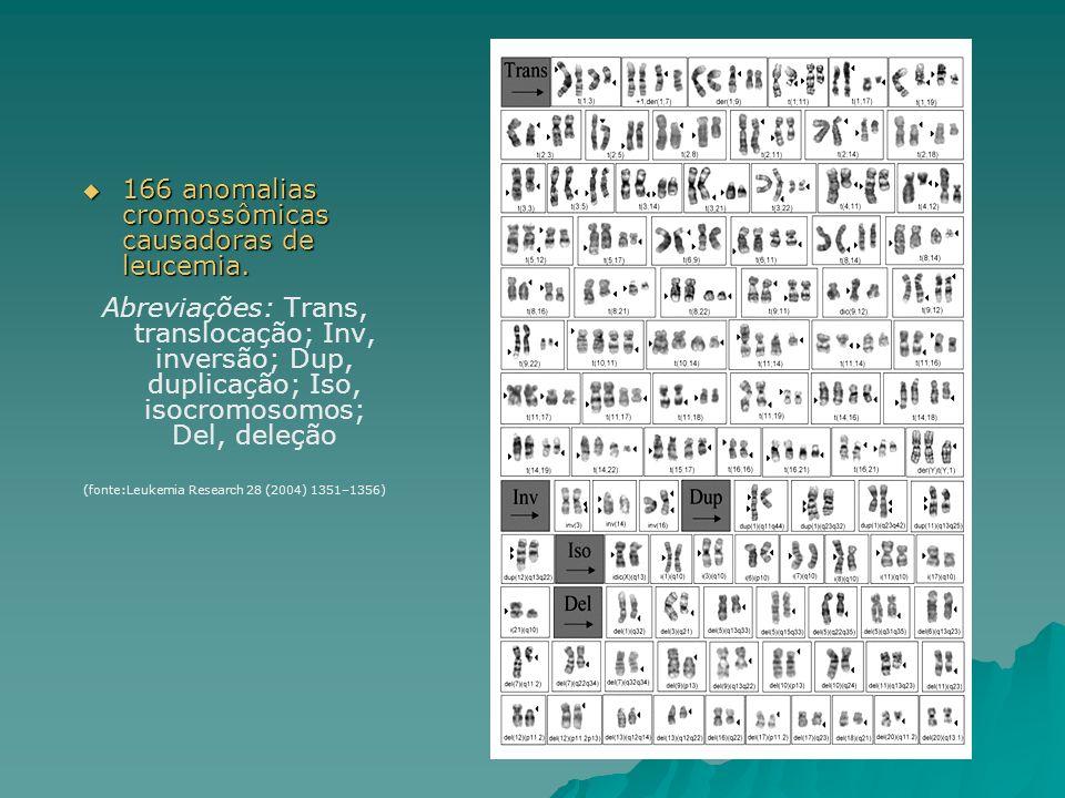 166 anomalias cromossômicas causadoras de leucemia. 166 anomalias cromossômicas causadoras de leucemia. Abreviações: Trans, translocação; Inv, inversã