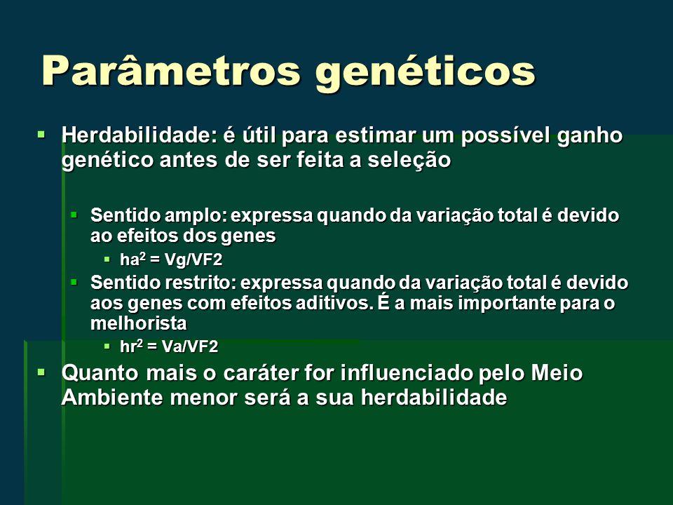 Parâmetros genéticos Herdabilidade: é útil para estimar um possível ganho genético antes de ser feita a seleção Herdabilidade: é útil para estimar um possível ganho genético antes de ser feita a seleção Sentido amplo: expressa quando da variação total é devido ao efeitos dos genes Sentido amplo: expressa quando da variação total é devido ao efeitos dos genes ha 2 = Vg/VF2 ha 2 = Vg/VF2 Sentido restrito: expressa quando da variação total é devido aos genes com efeitos aditivos.