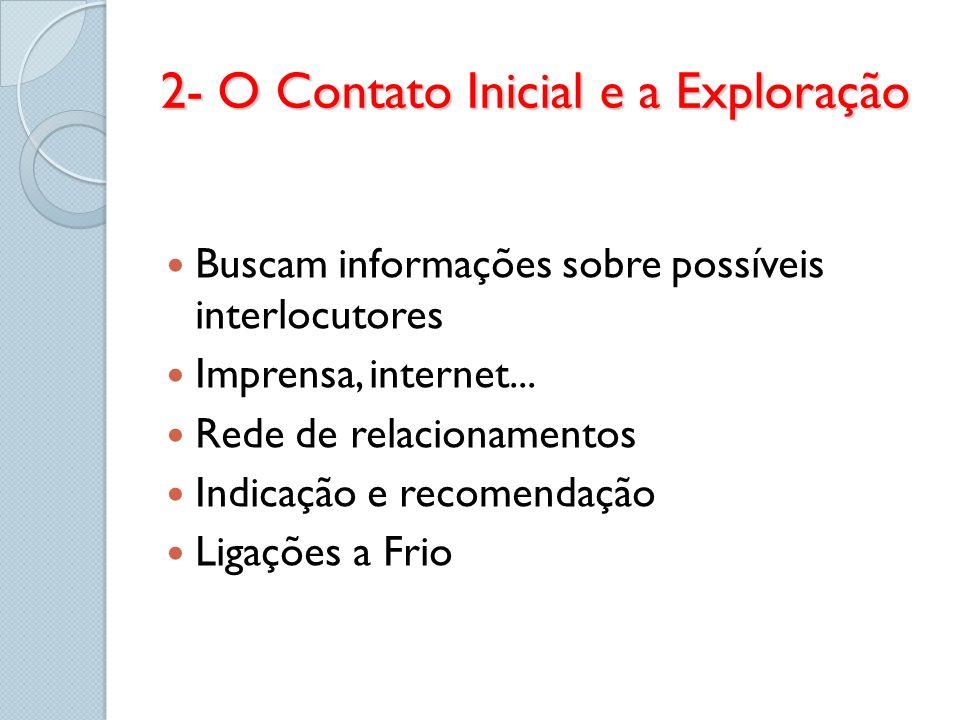 2- O Contato Inicial e a Exploração Buscam informações sobre possíveis interlocutores Imprensa, internet... Rede de relacionamentos Indicação e recome