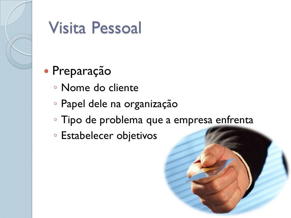 Visita Pessoal Preparação Nome do cliente Papel dele na organização Tipo de problema que a empresa enfrenta Estabelecer objetivos