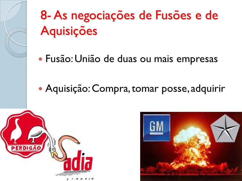 8- As negociações de Fusões e de Aquisições Fusão: União de duas ou mais empresas Aquisição: Compra, tomar posse, adquirir