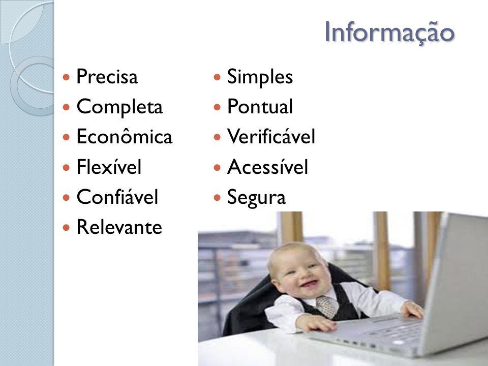 Informação Precisa Completa Econômica Flexível Confiável Relevante Simples Pontual Verificável Acessível Segura