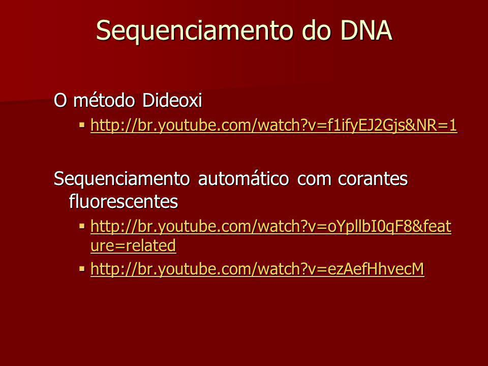 Sequenciamento do DNA O método Dideoxi http://br.youtube.com/watch?v=f1ifyEJ2Gjs&NR=1 http://br.youtube.com/watch?v=f1ifyEJ2Gjs&NR=1 http://br.youtube