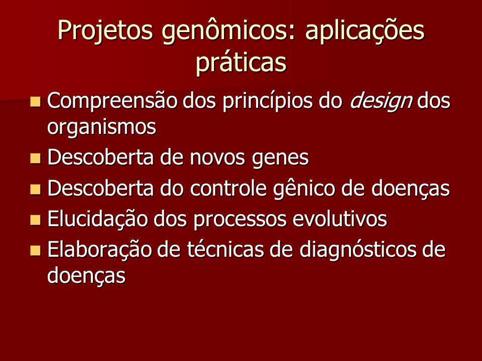Projetos genômicos: aplicações práticas Compreensão dos princípios do design dos organismos Compreensão dos princípios do design dos organismos Descob