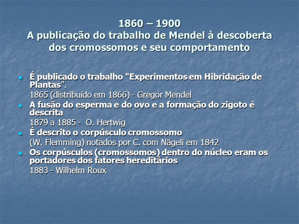 1860 – 1900 A publicação do trabalho de Mendel à descoberta dos cromossomos e seu comportamento É publicado o trabalho