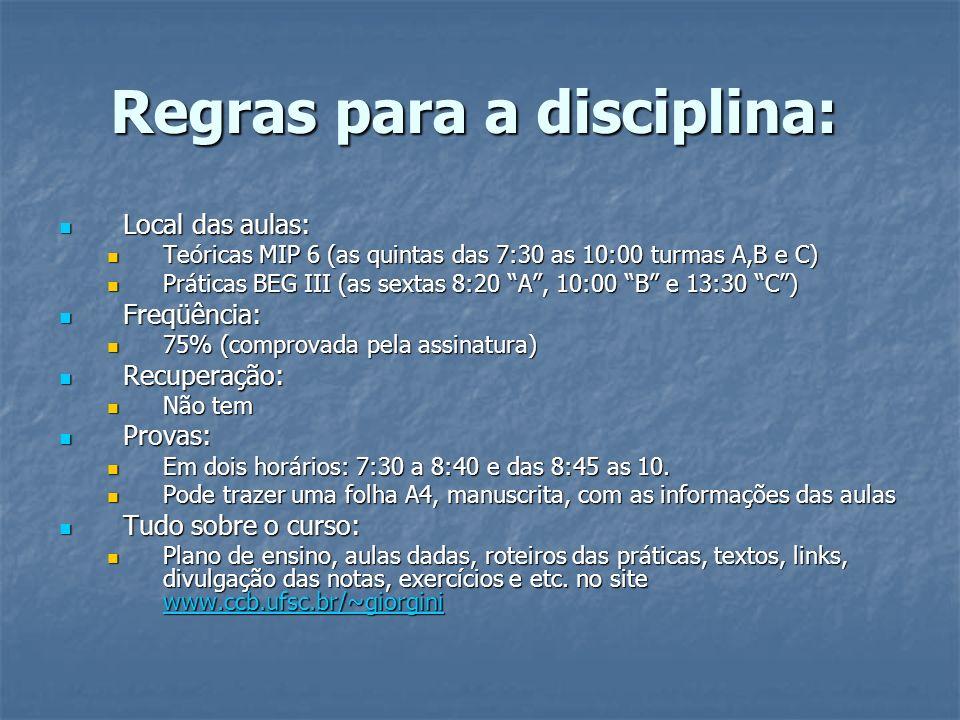 Regras para a disciplina: Local das aulas: Local das aulas: Teóricas MIP 6 (as quintas das 7:30 as 10:00 turmas A,B e C) Teóricas MIP 6 (as quintas da