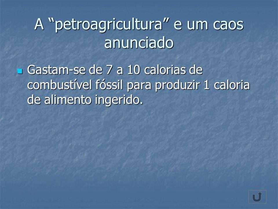 A petroagricultura e um caos anunciado Gastam-se de 7 a 10 calorias de combustível fóssil para produzir 1 caloria de alimento ingerido. Gastam-se de 7