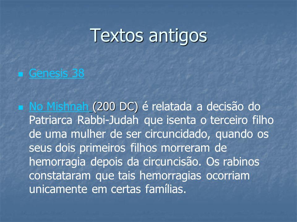 Textos antigos Genesis 38 (200 DC) No Mishnah (200 DC) é relatada a decisão do Patriarca Rabbi-Judah que isenta o terceiro filho de uma mulher de ser
