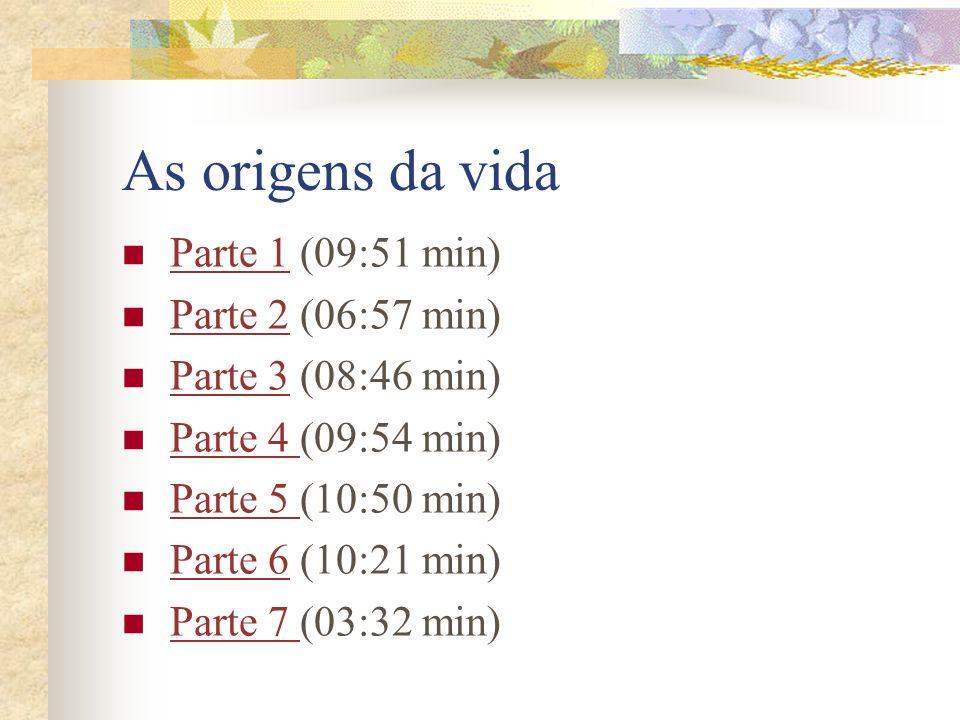 As origens da vida Parte 1 (09:51 min) Parte 1 Parte 2 (06:57 min) Parte 2 Parte 3 (08:46 min) Parte 3 Parte 4 (09:54 min) Parte 4 Parte 5 (10:50 min)
