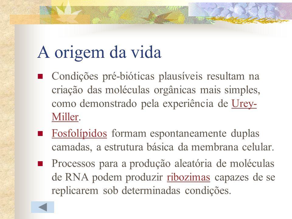 A origem da vida Condições pré-bióticas plausíveis resultam na criação das moléculas orgânicas mais simples, como demonstrado pela experiência de Urey