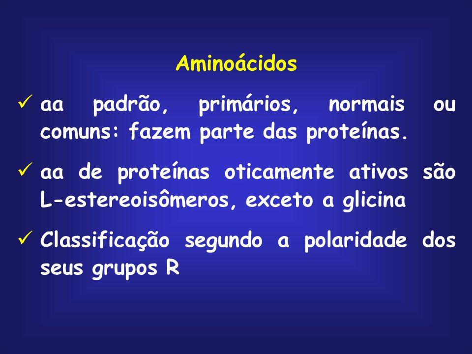 Aminoácidos aa padrão, primários, normais ou comuns: fazem parte das proteínas.