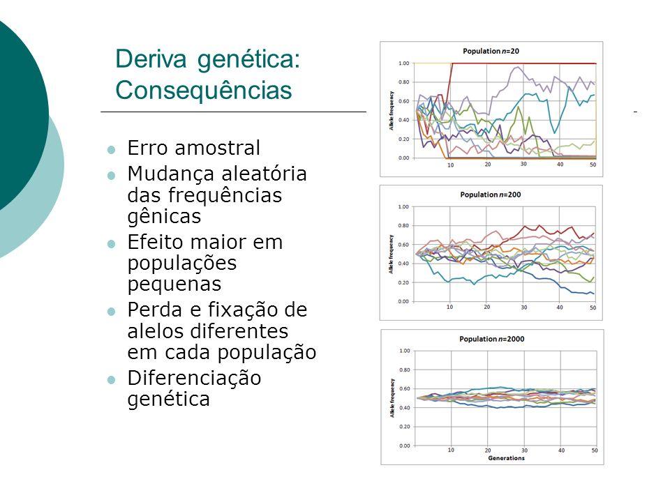 Deriva genética: Consequências Erro amostral Mudança aleatória das frequências gênicas Efeito maior em populações pequenas Perda e fixação de alelos d