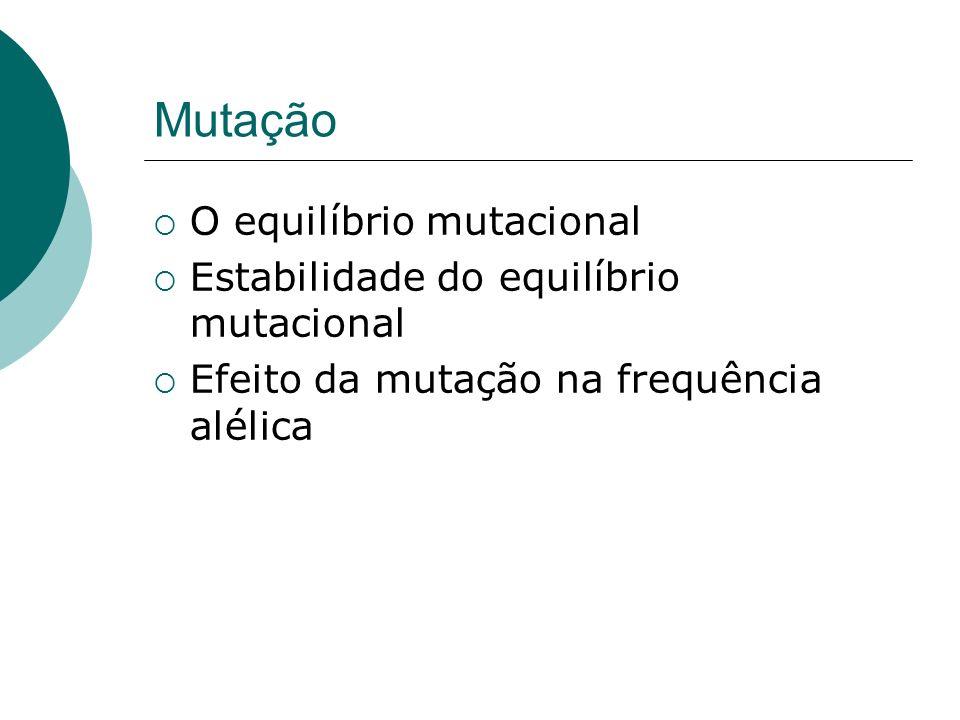 Mutação O equilíbrio mutacional Estabilidade do equilíbrio mutacional Efeito da mutação na frequência alélica