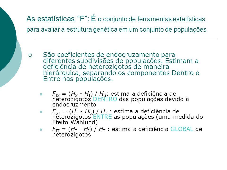 As estatísticas F: É o conjunto de ferramentas estatísticas para avaliar a estrutura genética em um conjunto de populações São coeficientes de endocru