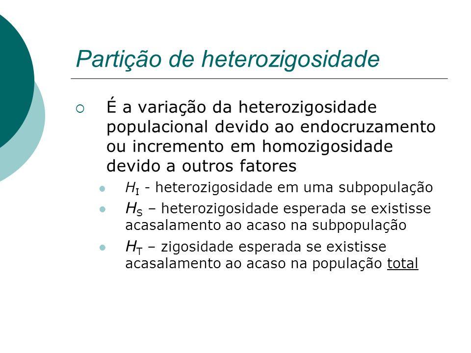 Partição de heterozigosidade É a variação da heterozigosidade populacional devido ao endocruzamento ou incremento em homozigosidade devido a outros fa